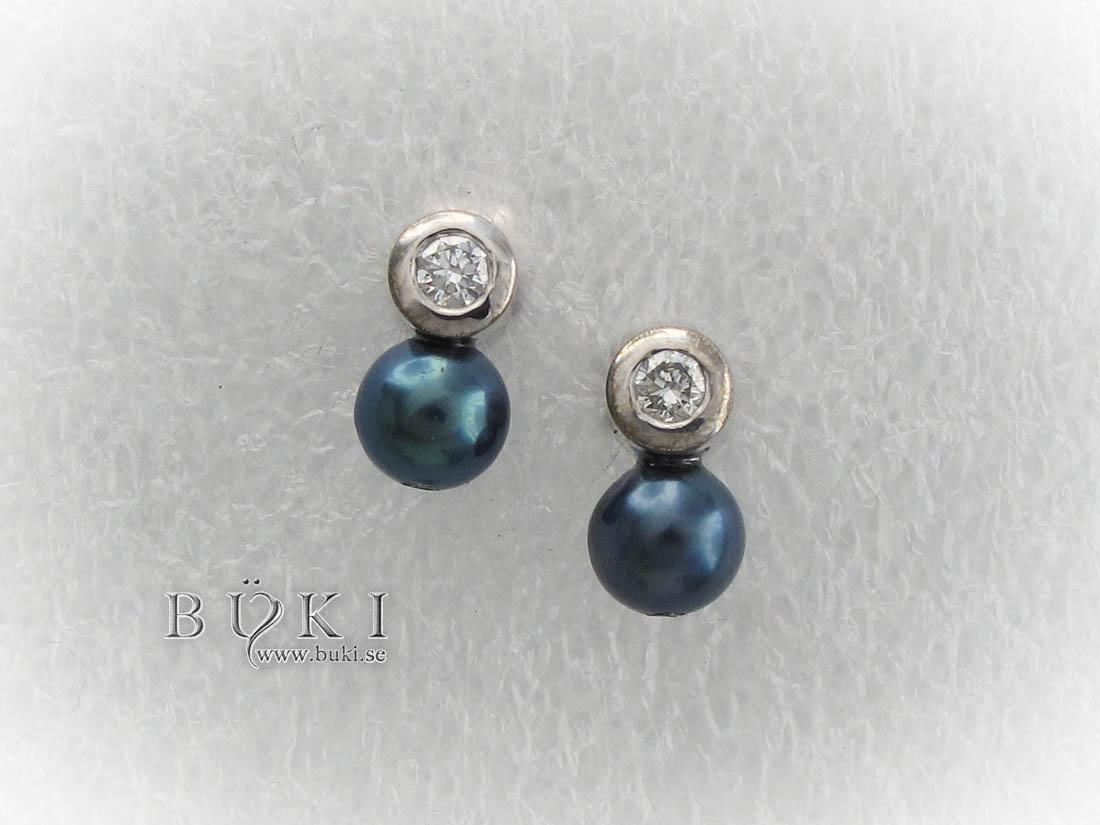 Vitguldsörhängen med Pärlor och Diamanter